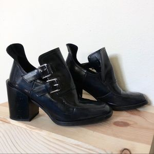 Zara Patent Leather Cutout Buckle Heel Ankle Boots